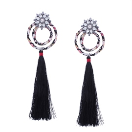 Ericdress Circle Diamante Tassel Earring for Women