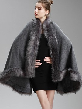 Ericdress Fur Plain Cardigan Thick Cape