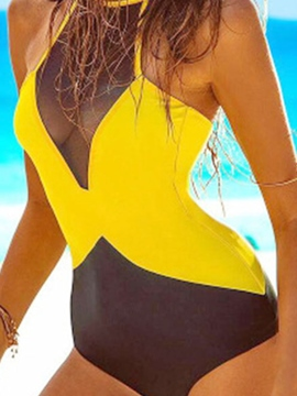 Ericdress Sexy Color Block Mesh Patchwork Monokini