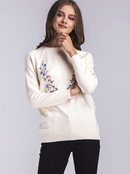 Ericdress Embroidery Floral Pullover Knitwear
