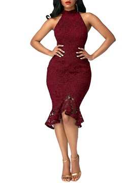 Ericdress Mermaid High Neck Lace Bodycon Dress