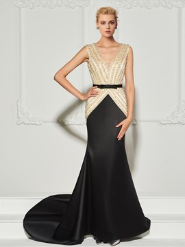 Ericdress V Neck Beaded Backless Mermaid Evening Dress With Court Train