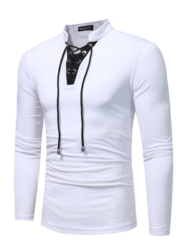 ericdress bloque de color lace-up stand collar de la camiseta de los hombres