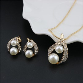 Ericdress Exquisite Pearl&Rhinestone Hollow Out Two-Piece Jewelry Set