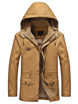 Hooded Plain Hooded Lace-Up Men's Jacket