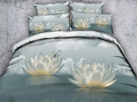 White Lotus and Dragonfly Printed Cotton 3D 4-Piece Bedding Sets/Duvet Covers
