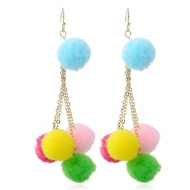 Ericdress Vintage Fuzzy Ball Pendant Earring for Women