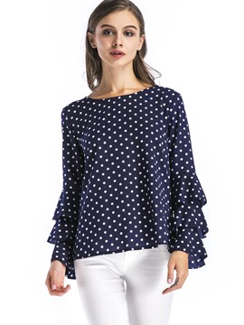 Ericdress Polka Dot Flare Sleeve Blouse