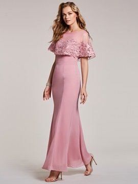 Ericdress Bateau Neck Lace Appliques Mermaid Evening Dress