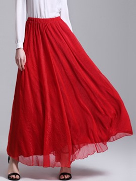 Ericdress High-Waist Chiffon Pleated Ankle-Length Usual Skirts