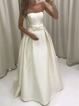 Ericdress Bowknot Strapless Outdoor Wedding Dress 2019