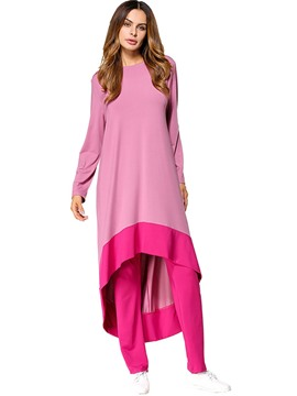 Ericdress Color Block Asymmetric Autumn Leisure Suits