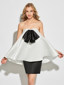 A-line sweetheart cocktail dress with beading bow knot shirt
