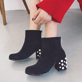 Ericdress Plain Round Toe High Heel Ankle Boots with Beads