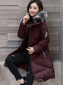 Ericdress Fur Collar Zipper Mid-Length Hooded Coat