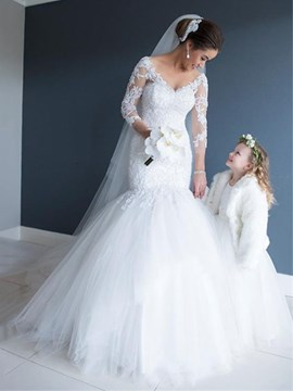 Ericdress V Neck Mermaid Appliques 3/4 Length Sleeves Wedding Dress