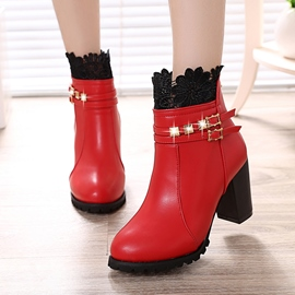 Ericdress Lace Rivet Patchwork Plain Ankle Boots