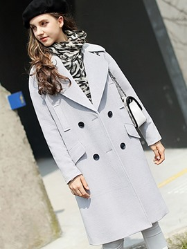 Ericdress Plain Double-Breasted Pocket Coat