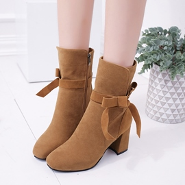 Ericdress Round Toe Side Zipper Plain Ankle Boots with Bowknot