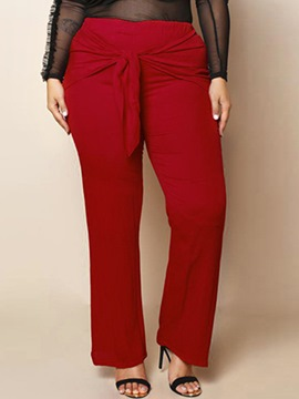 Lace-Up Plain Straight Pants