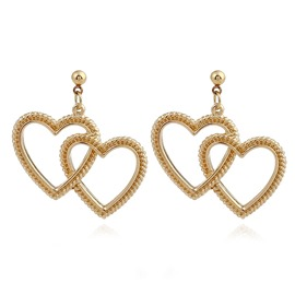 Ericdress Romantic Double Heart Pendant Stud for Women