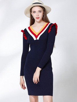 Ericdress V-Neck Color Block Long Sleeves Bodycon Sweater Dress