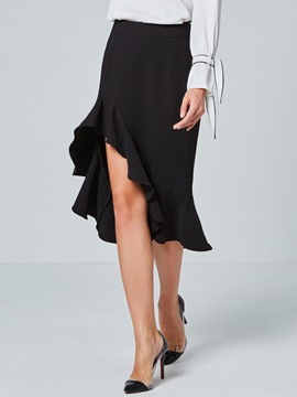 Ericdress Plain Asymmetrical Ruffles Women's Skirt
