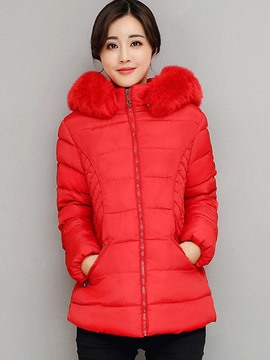 Ericdress Solid Color Fur Collar Down Coat
