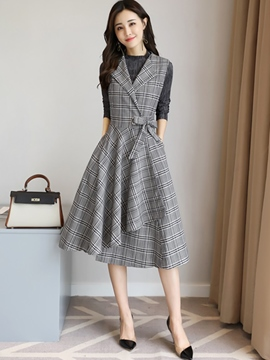 Ericdress Plaid Asymmetric Pocket Two piece suit