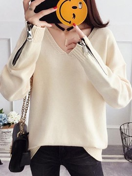 Ericdress Loose Thin Plain V-Neck Sweater