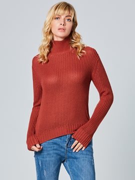 Ericdress Plain Slim Turtleneck Knitwear