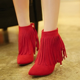 Ericdress Tassel Side Zipper Plain Stiletto Heel Boots