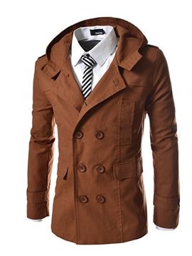 Ericdress Plain Mid-Length Double-Breasted Men's Trench Coat