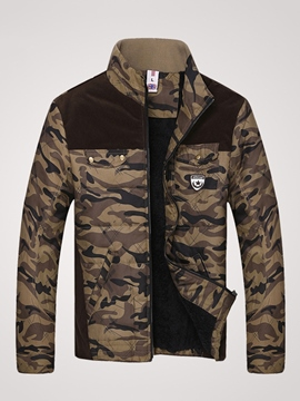 Ericdress Patchwork Camouflage Thicken Men's Winter Coat