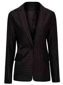 Ericdress Stripe One Button Mid-Length Blazer
