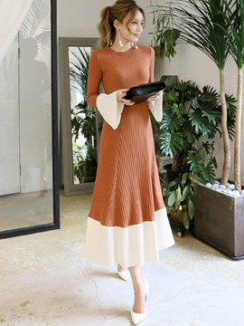 Ericdress Flare Sleeve Color Block Thread Long Sleeve Maxi Dress