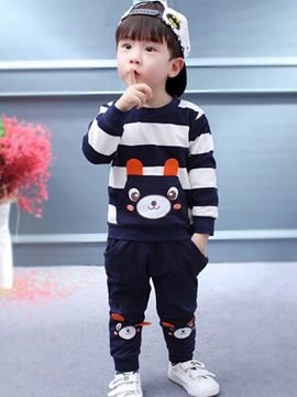 Ericdress Striped Bear Long Sleeved And Pant 2-Piece Baby Boys Outfit