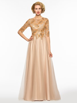 Ericdress Sequins Half Sleeves Mother of the Bride Dress