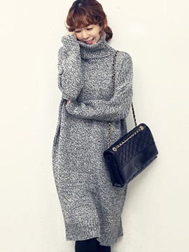 Ericdress Thread High Neck Long Sleeve Sweater Dress