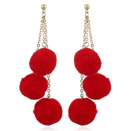 Ericdress Trendy Red Fuzzy Ball Drop Earring for Women