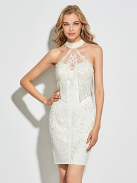 Ericdress Sheath High Neck Beaded Short Cocktail Dress