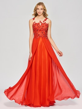 Ericdress A Line Bateau Neck Beaded Applique Long Prom Dress