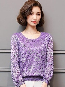 Ericdress Loose Lace Patchwork Velvet T-shirt