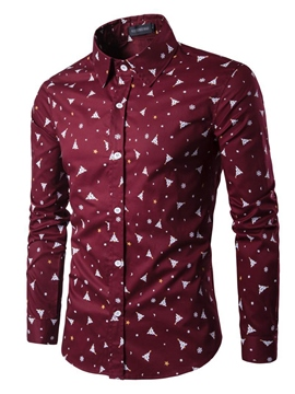 Ericdress Print Slim Fit Long Sleeve Men's Shirt