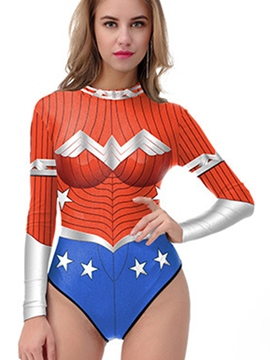 Ericdress Halloween Wonder Woman Cosplay Long Sleeve Monokini