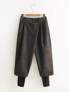 Ericdress Plaid Pocket Two-Piece Pants