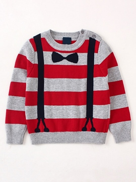 Ericdress Pullover Blet And Bow Tie Pattern Stripe Baby Boys Sweater