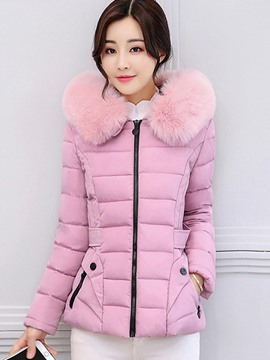 Ericdress Solid Color Zipper Fur Down Coat