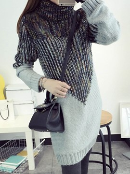 Ericdress Turtleneck Mid-Length Patchwork Knitwear