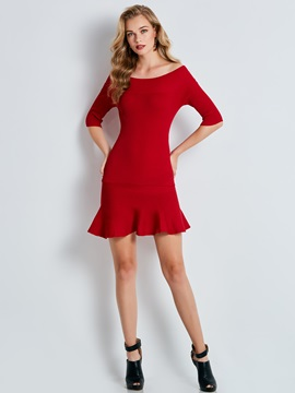 Ericdress Slash Neck Half Sleeve Pullover Sweater Dress